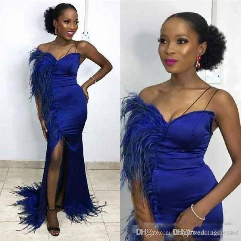 Sexy Royal Blue Prom Dresses Saudi African Satin Feather On Shoulder High Split Mermaid Evening Dress Floor Length Cheap Cocktail Gowns
