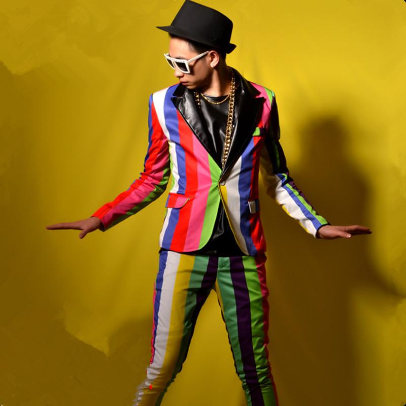 Tide Coloré rayé costume masculin veste de costume masculin pantalon manteau slim star show pour Male chanteur danseur performance discothèque bar Star Vêtements