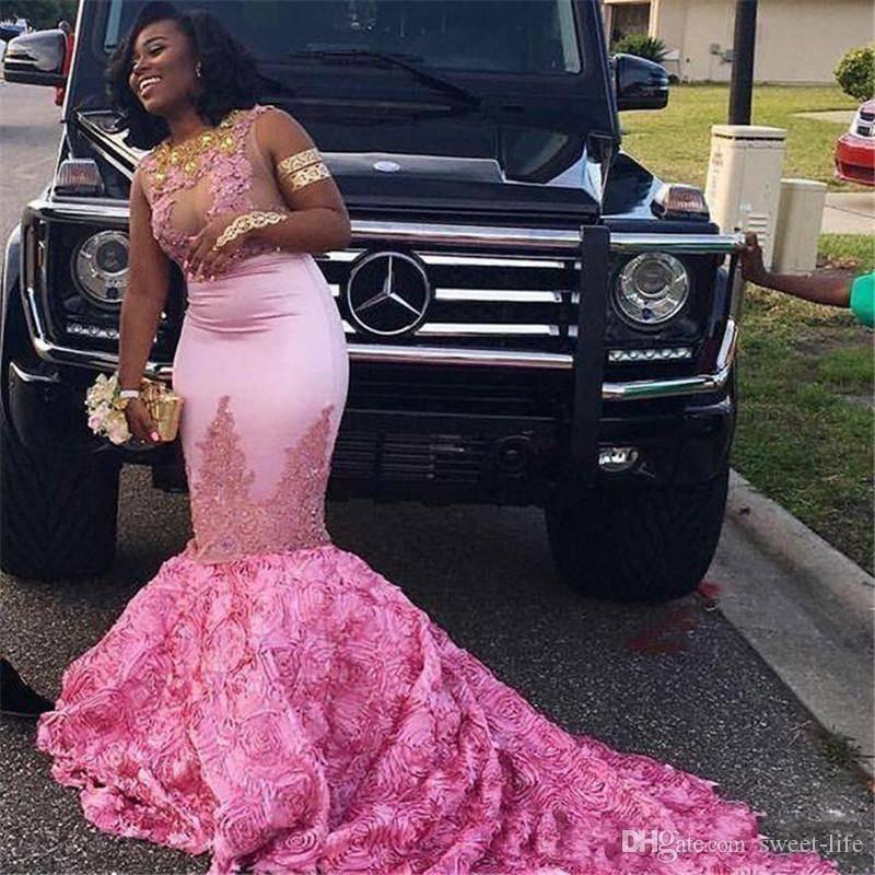 2K18 Afryki Czarnej Girl Mermaid Long Prom Dresses Lace Aplikacje Bez Rękawów Ruched Dostosowane Abendkleid Abiiti Party Suknie wieczorowe