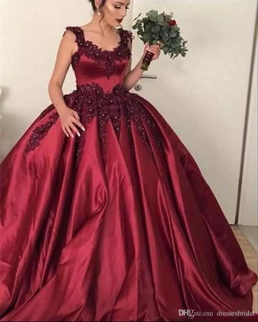 Bordo Balo Quinceanera Elbiseler 2019 Scoop Dantel Aplikler Boncuklu Tatlı 16 Kabarık Özel Balo Akşam Pageant Törenlerinde Ucuz Giymek