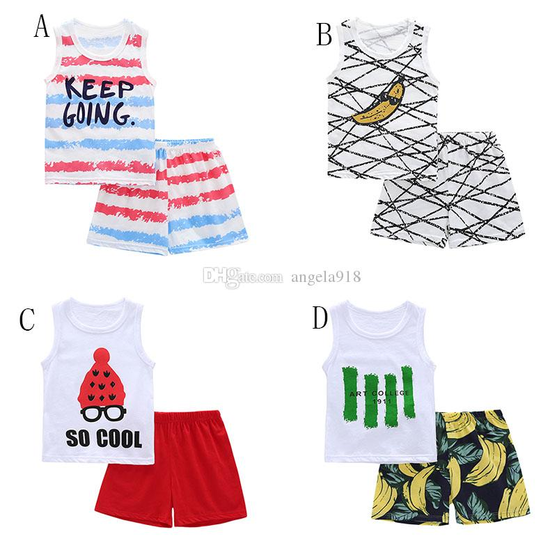 Baby boys girls American flag outfits children stripe letter top+print Shorts 2pcs/set 2018 Summer kids Clothing Sets C4206