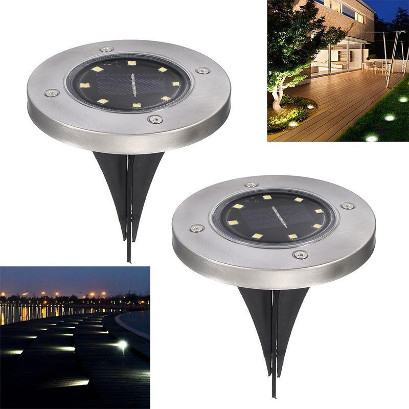 تعمل بالطاقة الشمسية ضوء الأرض حديقة للماء أضواء سطح الممر مع 8 المصابيح الشمسية مصباح للمنزل ساحة درب الحديقة الطريق