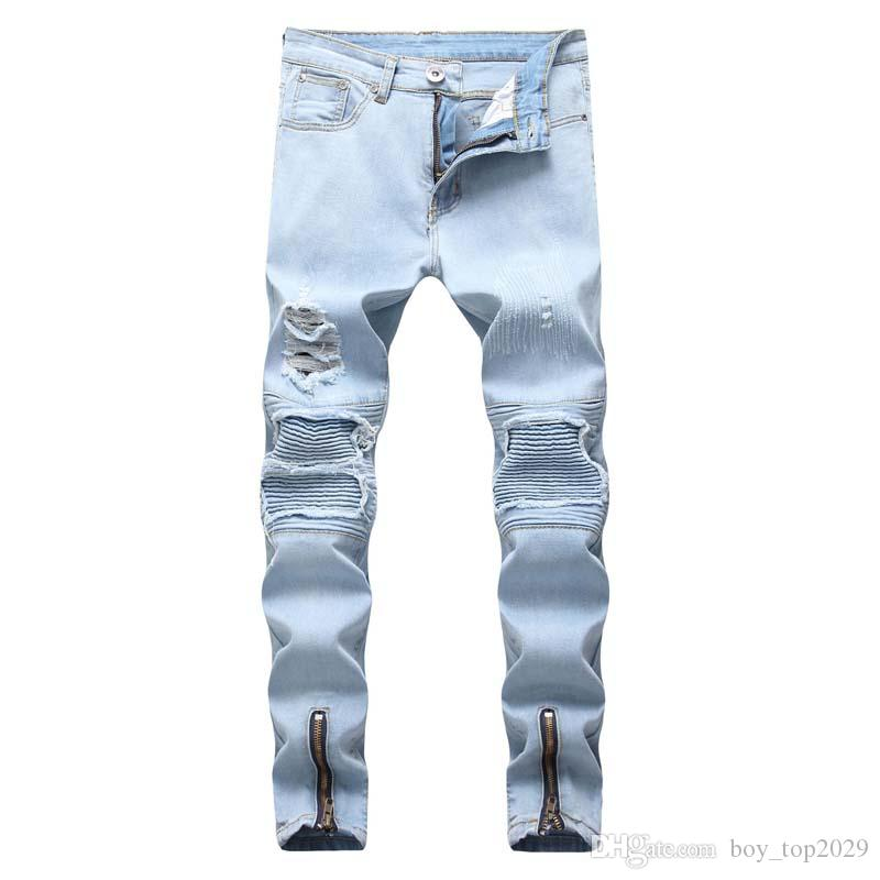 Foreign trade cross-border 2018 male European and American men's jeans light blue feet Slim hole motorcycle men's jeans 1847