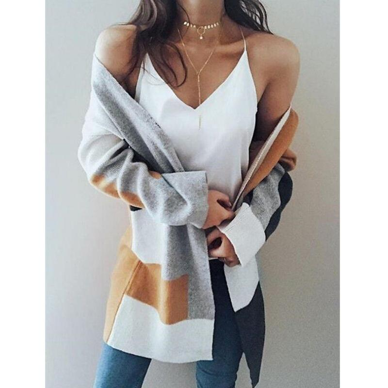 Pull Femmes À Manches Longues Col En V Casual Tricoté Top Cardigan Pulls Pull Cardigans Streetwear Tricots Outwear Tops
