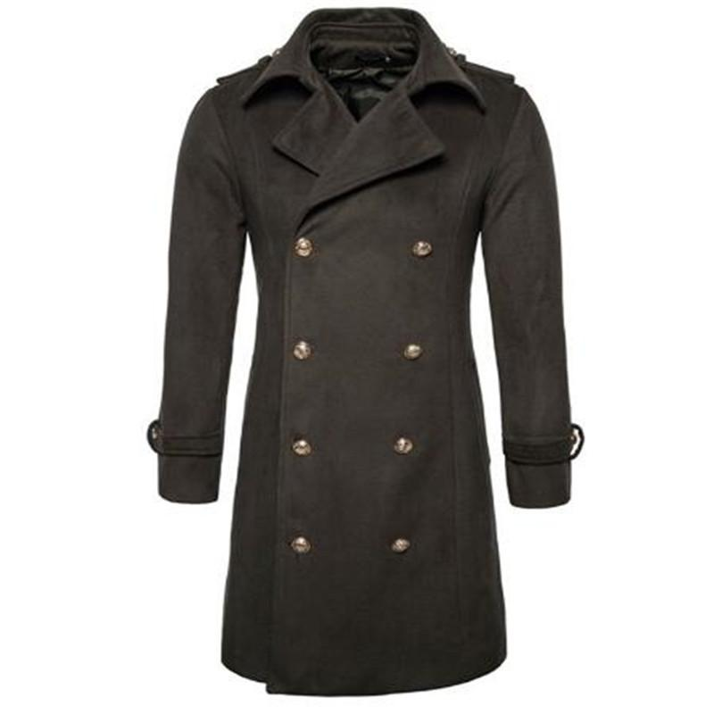Cappotto di lana impreziosito di cucitura degli uomini della Nuova Inghilterra degli uomini di modo risvolto Cappotto di lana a doppio petto con cappuccio per uomo autunno inverno Ra