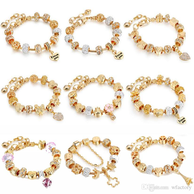 2018 Gold Charme Armbänder Für Frauen Schlangenkette Herz Armbänder Armreifen DIY Kristall Schmuck Pulseras