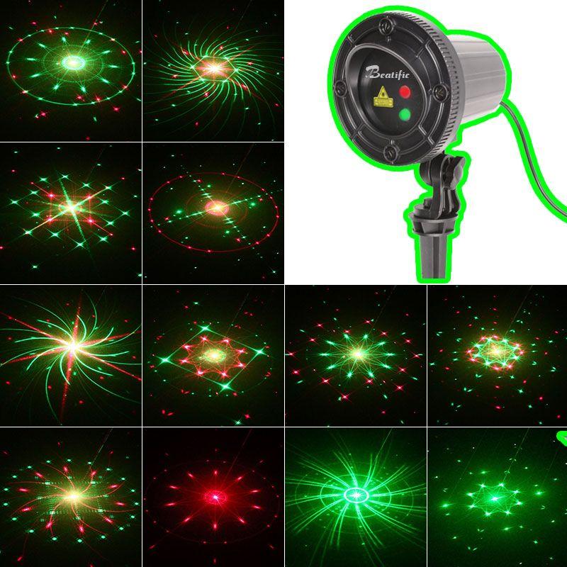 Nowe Boże Narodzenie światła Outdoor Garden Laser 24 Wzory Boże Narodzenie Garland Laser Projektor Wodoodporne światła Boże Narodzenie z pilotem