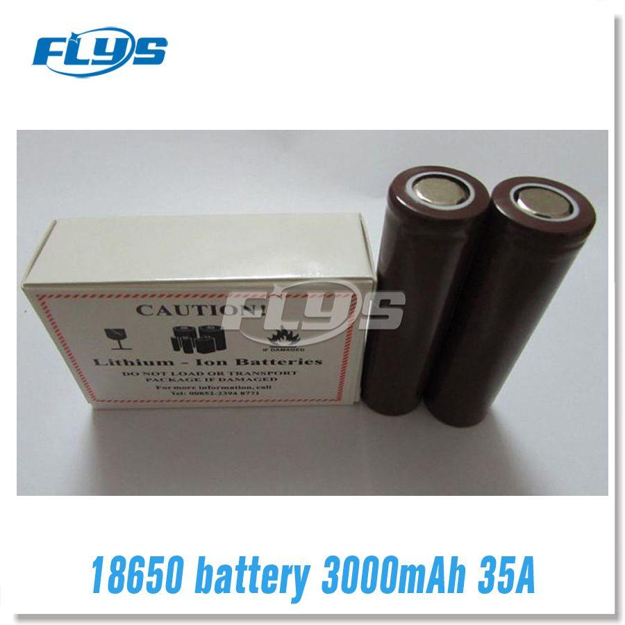 100% hohe qualität hg2 18650 akku 3000 mah 35 a max wiederaufladbare lithium-batterien für lg zellen fit vape box mod fedex