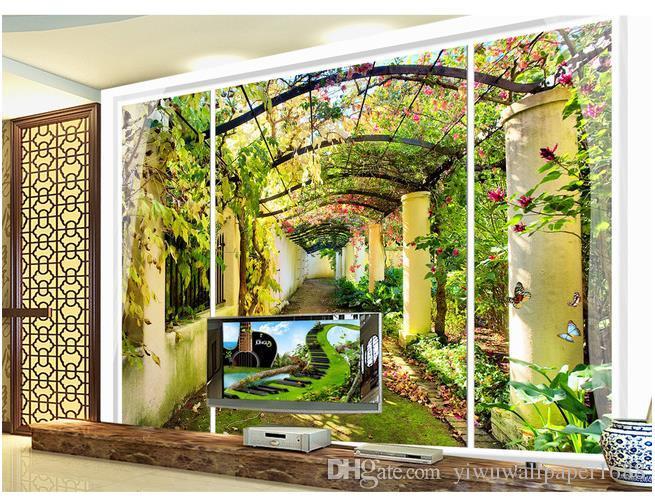 papier peint classique pour les murs peinture de paysage pastorale européen 3d peinture de fond de la fenêtre