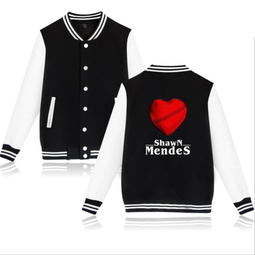 Hip hop moda marca clothing cantor shawn mendes velo jaqueta de beisebol homens / mulheres streetwear zip-up harajuku moletom com capuz camisola