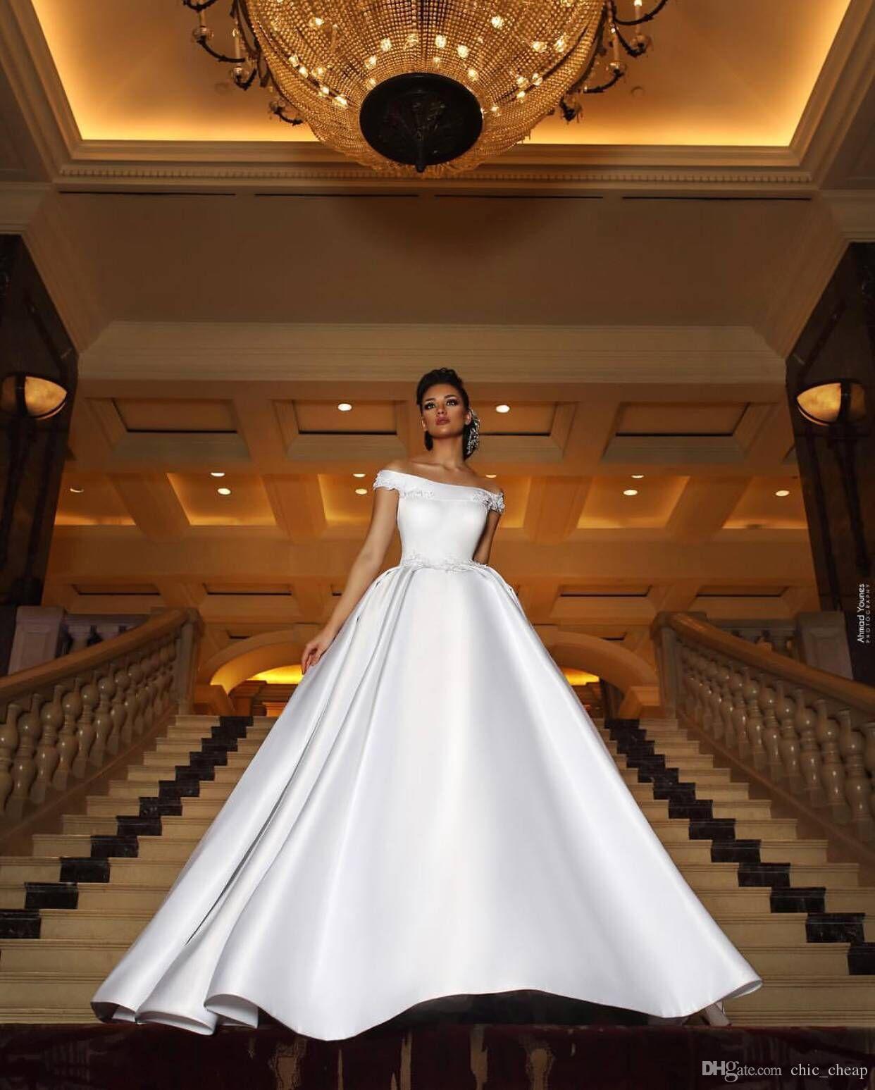 Off Shpoulder Tribunal Trem mangas Sexy vestidos de casamento 2018 A linha Custom Made mancha elegante vestido de noiva