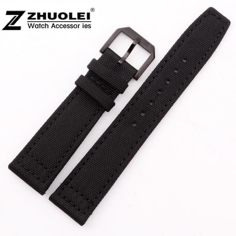 21mm 22mm Nouveau durable de haute qualité en nylon montre-bracelet en nylon / bandes Bracelet en cuir véritable Montre bande pour (FITS) Pilot