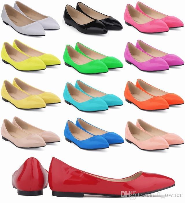 패션 지적 발가락 플랫 클리츠 여성 구두 신발 미끄러 져 OL 신발에 Bowtie F73