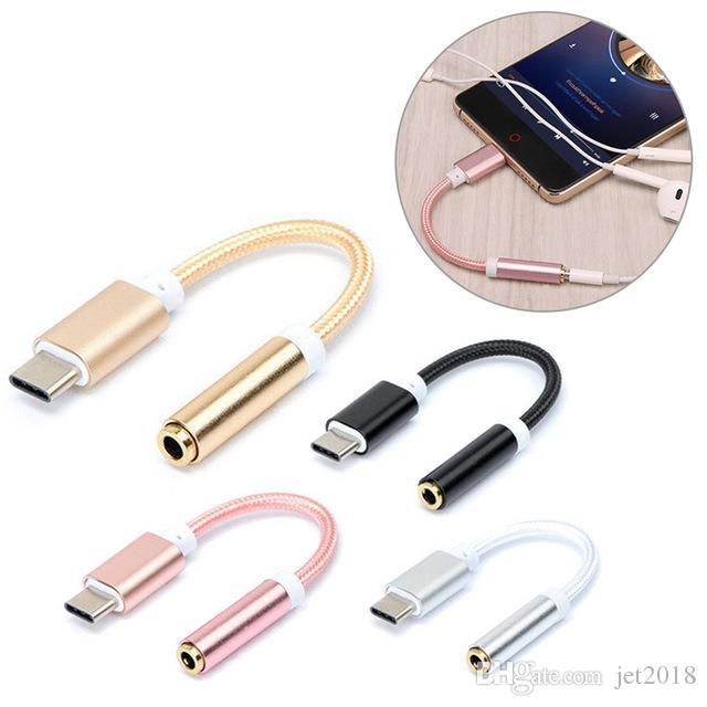 E-EDC USB Tipo C para 3,5 fone de ouvido adaptador tipo C para auscultadores de 3.5mm AUX cabo conversor de áudio para o telefone andorid