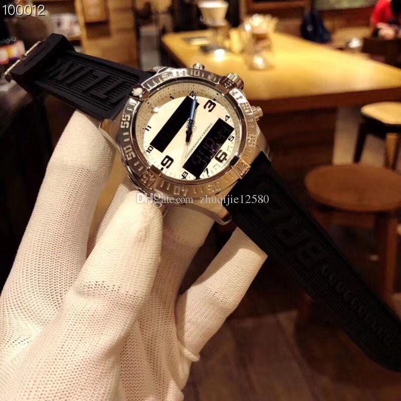 도매 고급 다기능 크로노 그래프 망 시계 전자 포인터 표시 시간 43mm 화이트 다이얼 고무 스트랩 쿼츠 남성 시계