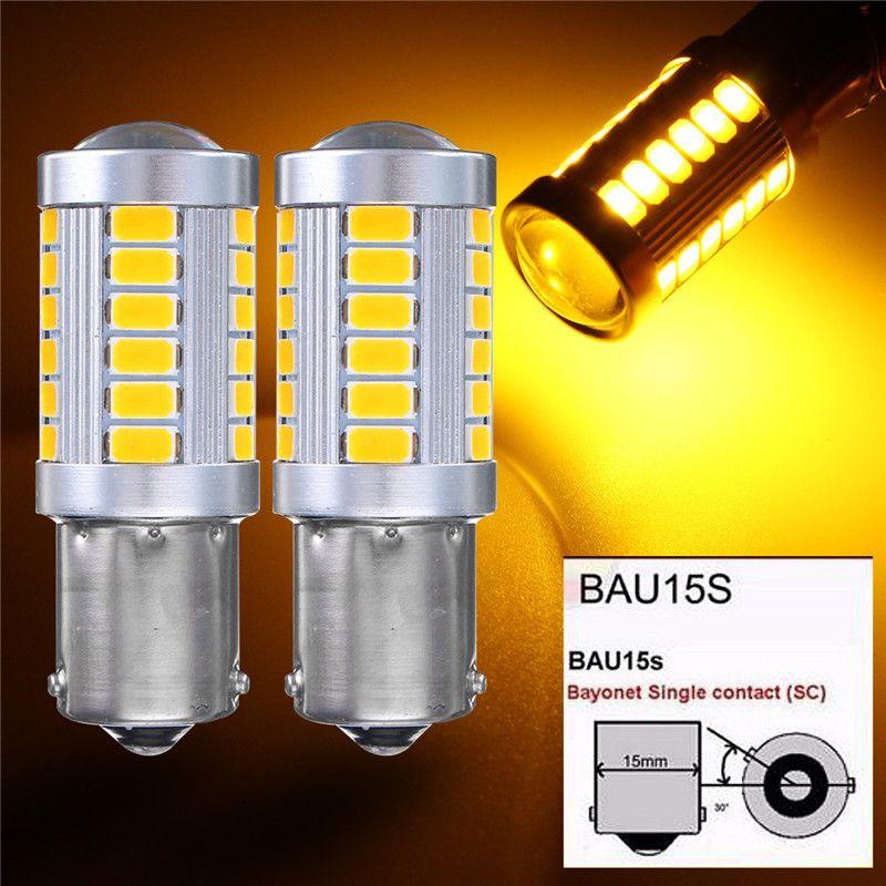 2x 1156 BAU15S PY21W 노란색 자동차 LED 전구 33 5730 SMD 사이드 마커 역 백업 라이트 돔 브레이크 테일 램프 노란색 DC 12V