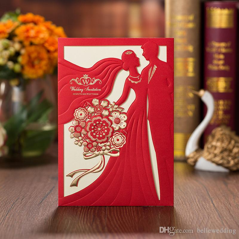 OEM Lazer Kesim Düğün Davetiyeleri Ücretsiz Baskı Düğün Davetiyesi Kart Kırmızı Kişiselleştirilmiş Çin Düğün Davetiyeleri # BW-I0037