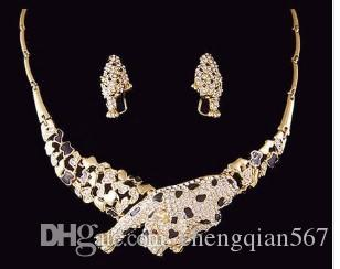 gold crystal leobard shape wedding bridal jewelry set bless necklace earinggfgtrfs (woniu152) gfhvg