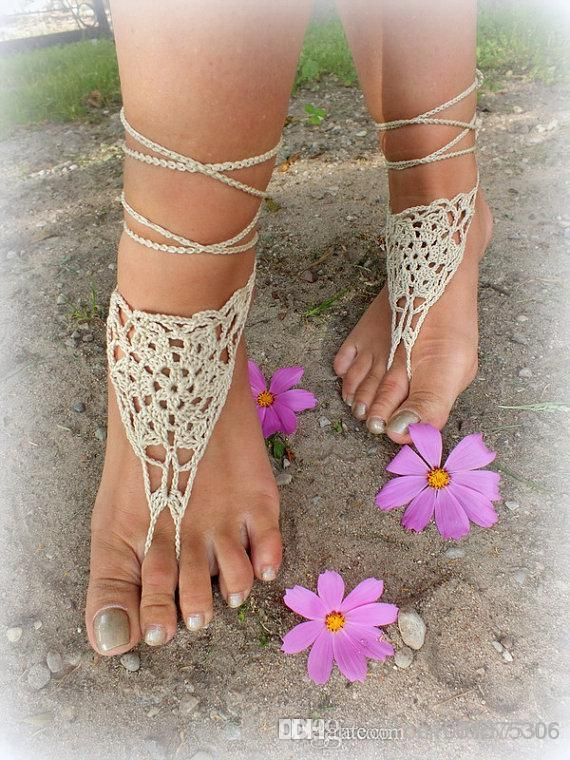 순수한 면사로 만든 베이지 색의 맨발로 섹시한 맨 손으로 액세서리 액세서리 Victorian Lace, Bridal anklet ..