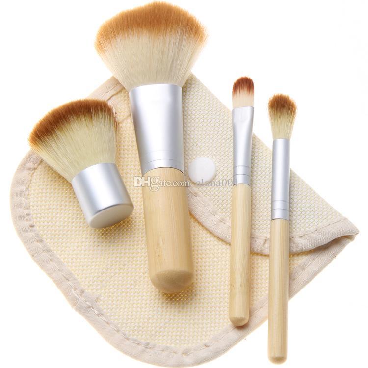 ¡En stock! Tool Kit cosmético profesional de los cepillos de bambú Mango de cepillo del maquillaje del bolso con ropa 4pcs