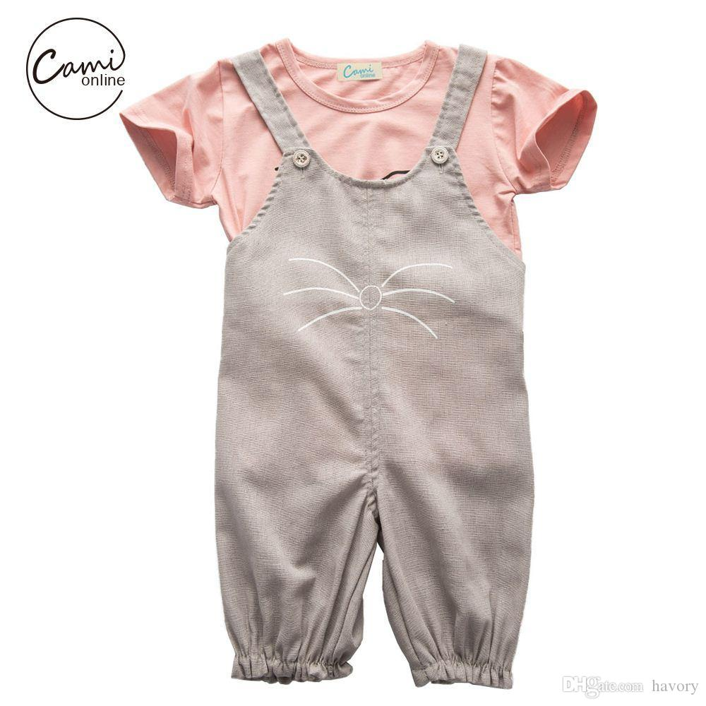 Cute Baby Cotton Clothing Set Casual Short Sleeve T-shirt Cartoon Cat Print Pants Infant Girls Summer Suits Fashion Clothes Set