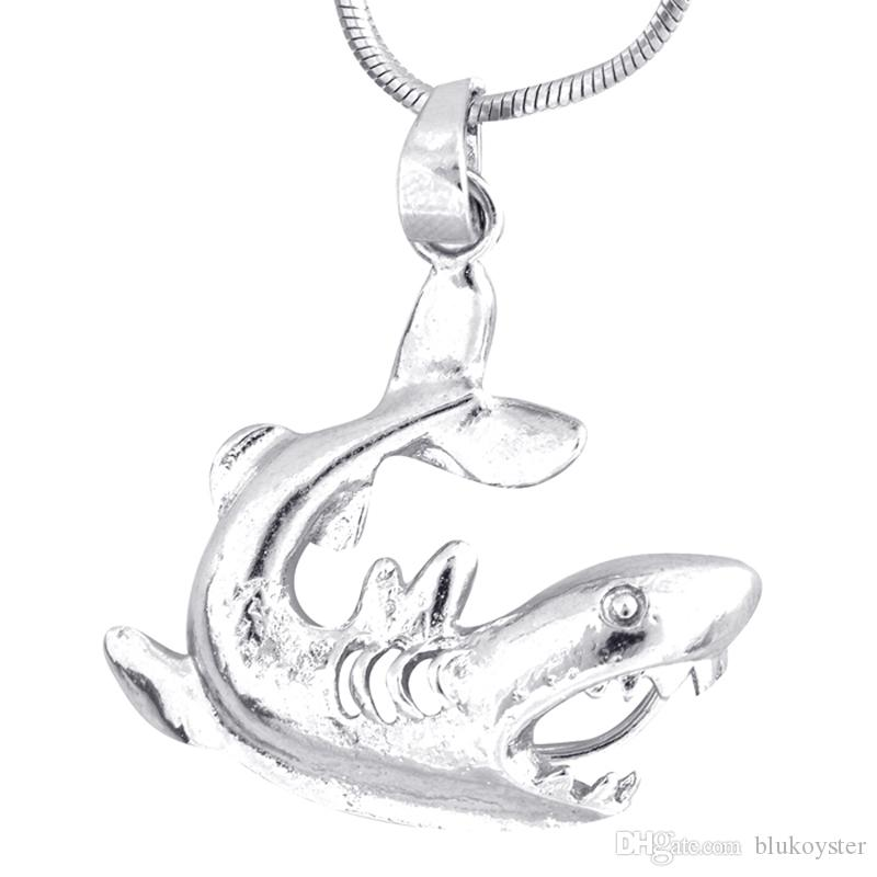 Moda Gümüş Kafes Shark şekli Inciler Ile Kolye Locket Kolye Charm Güzel Takı Kadınlar Için sıcak P59