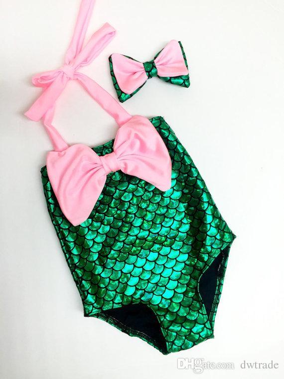 2018 Mode Bébé Filles Bowtie Sirène Maillot De Bain Une Pièce Princesse Maillots De Bain Enfants Maillots De Bain Enfants Toddler Bikini 2 Pcs Costume 5 Pcs Beaucoup