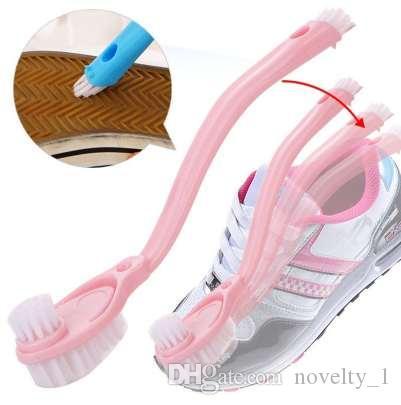 Hot 1 UNIDS Suministros de limpieza Lavar los zapatos con cepillo Cepillo doble mango largo para lavar los zapatos Cepillo de limpieza de alta calidad