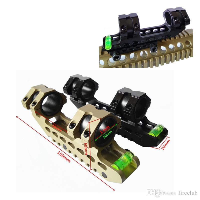 "FIRECLUB 30mm 원피스 Riflescope ACD 범위 마운트 안티 캔트 장치 버블 레벨 150mm 5.9 ""길이 마운트 블랙 / 탄"