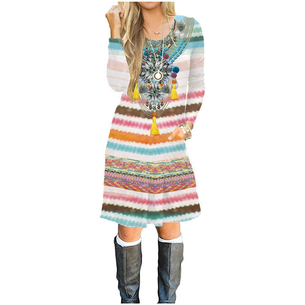 Vestido de manga larga de las nuevas mujeres de la llegada en otoño, 100% algodón vestido impreso 3D, muchachas de la manera caliente camiseta falda mujer diseñador abrigos de invierno