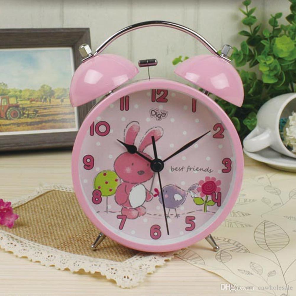 Cartoon No Ticking Silent Quartz Table Bedside Twin Bell Alarm Clock with Nightlight for kids children schoolboys