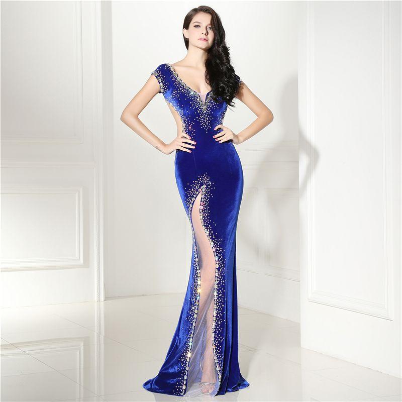 Royal blue evening dresses long sexy sparkly beaded v neck cap sleeves dress evening woman velvet prom dress
