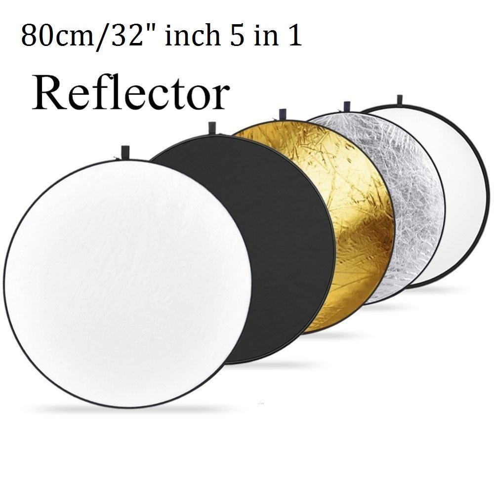 """Lightdow 32"""" 80cm 5 in 1 Light Mulit Collapsible Disc Reflector Portable Light Round Photography Photo Reflector for Studio"""