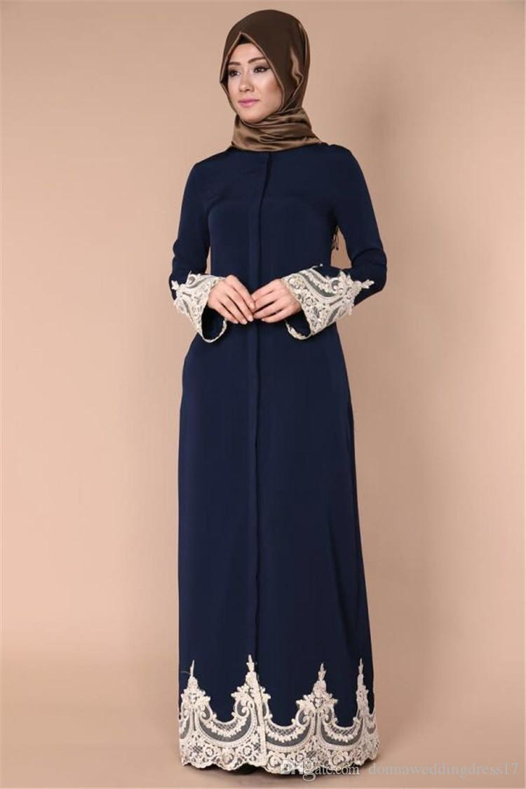 Woman Long Sleeve Abaya Islamic Female Muslim Apparel Ladies Lace Kaftan Long Navy Blue Turkish Maxi Dress for Wedding Party Gowns vestidos