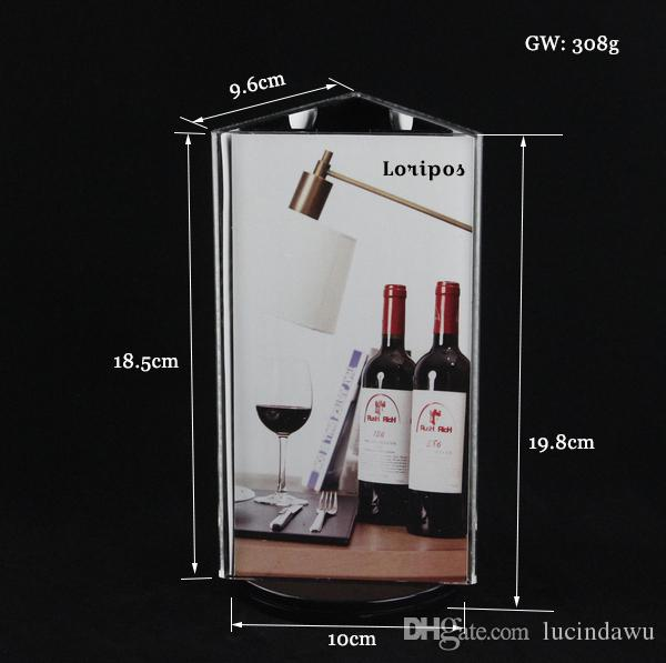Revolving Photo Frame Stand Acrylic Table Picture Display Rack Desk Sign Menu Poster Frame Stand Paper Tag Label Holder Advertising Display