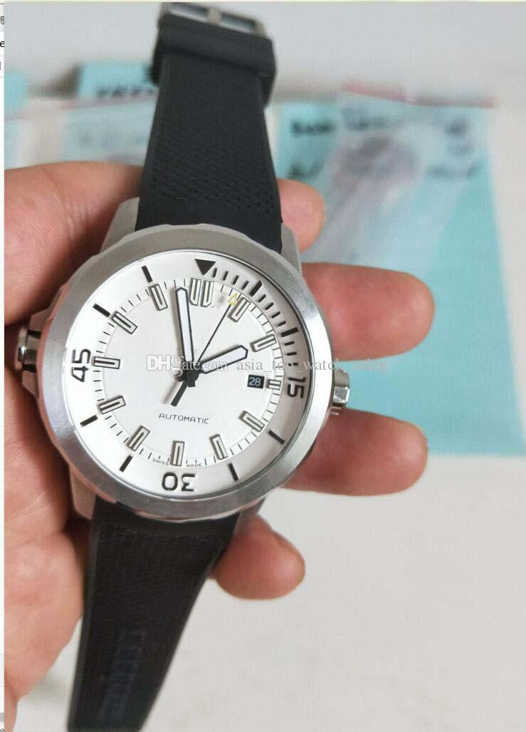 Versão mais recente IW assistir Alta qualidade 42mm mostrador branco relógio dos homens mecânicos automáticos Relógios De Borracha pulseira top relógios