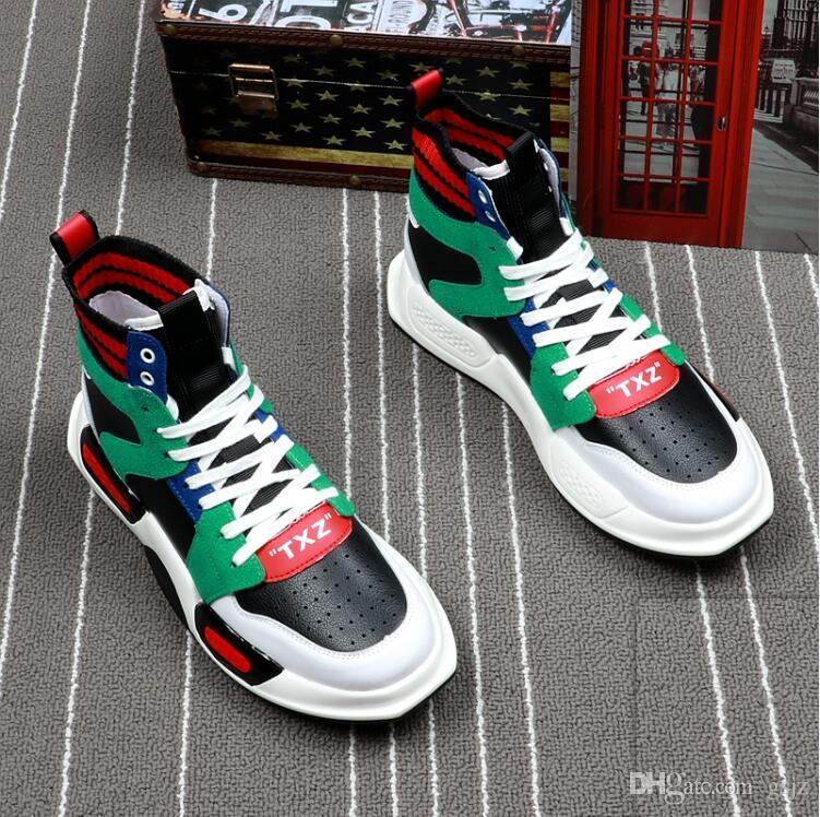 2019 Nuovo stile di lusso autunno alto top stella scarpe da uomo sneakers bianco versione designer scarpe casual d'oro scarpe hip hop S362