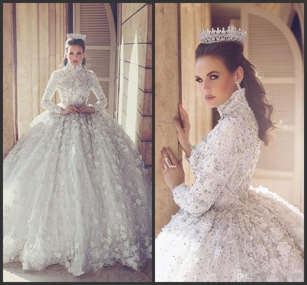 Nuevo lujo arábigo arábigo vestido de bola vestidos de novia con cuentas con cuentas de cuello alto 3d vestido de novia apliques de manga larga vestido de novia modesto