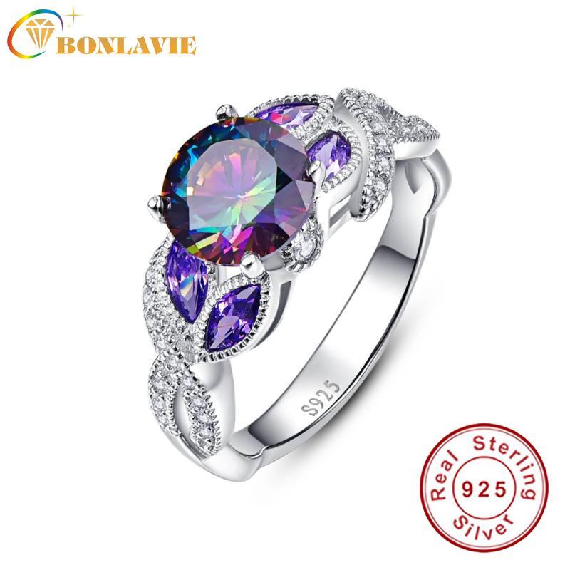 BONLAVIE 925 de plata anillos de topacio místico del arco iris Sterling con banda anillo de bodas de zafiro acento de piedra de diseño de moda de compromiso