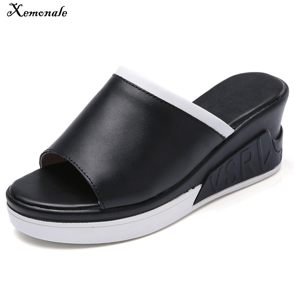 Xemonale Women Mules Shoes Thick Sole Slippers Summer Shoes Ladies Wedge Platform Leather Flip Flops High Heels Footwears Female