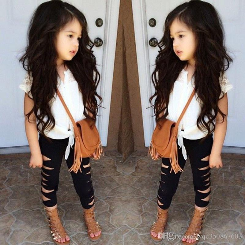 2 PCS/set Summer Girls Clothing Sets Toddler Kids Baby Girls Outfit lace sleeveless T-shirt Tops+Long Pants Leggings Clothes