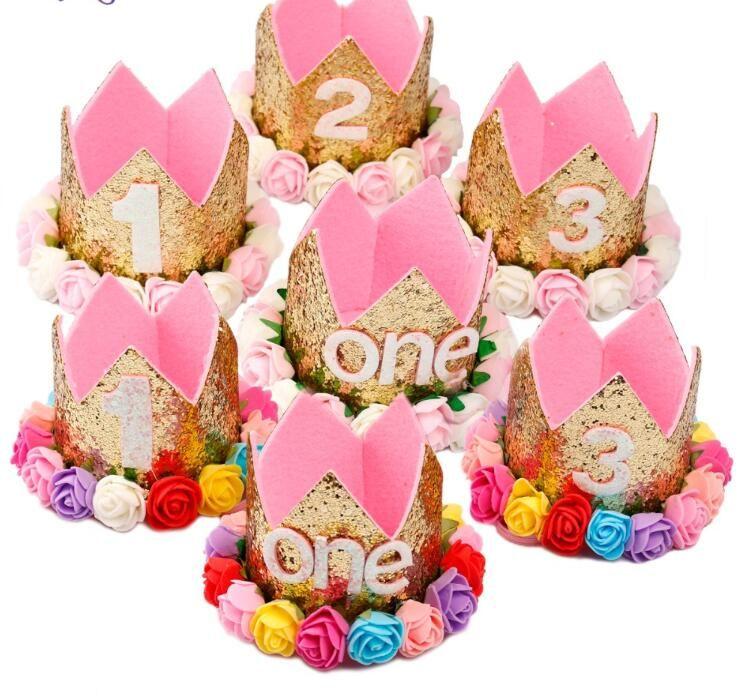 Bebek Kız Doğum Günü Partisi Şapka Ben Bir Kapaklar Ilk Doğum Günü Prenses Taç Parti Süslemeleri Çocuklar Iyilik Pembe Kafa Bandı