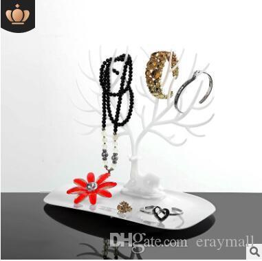 Espositore per gioielli albero per orecchini bracciali collane ornamenti corno ornamenti cremagliera bianco rosa nero mei rosso 23x25x15cm 549