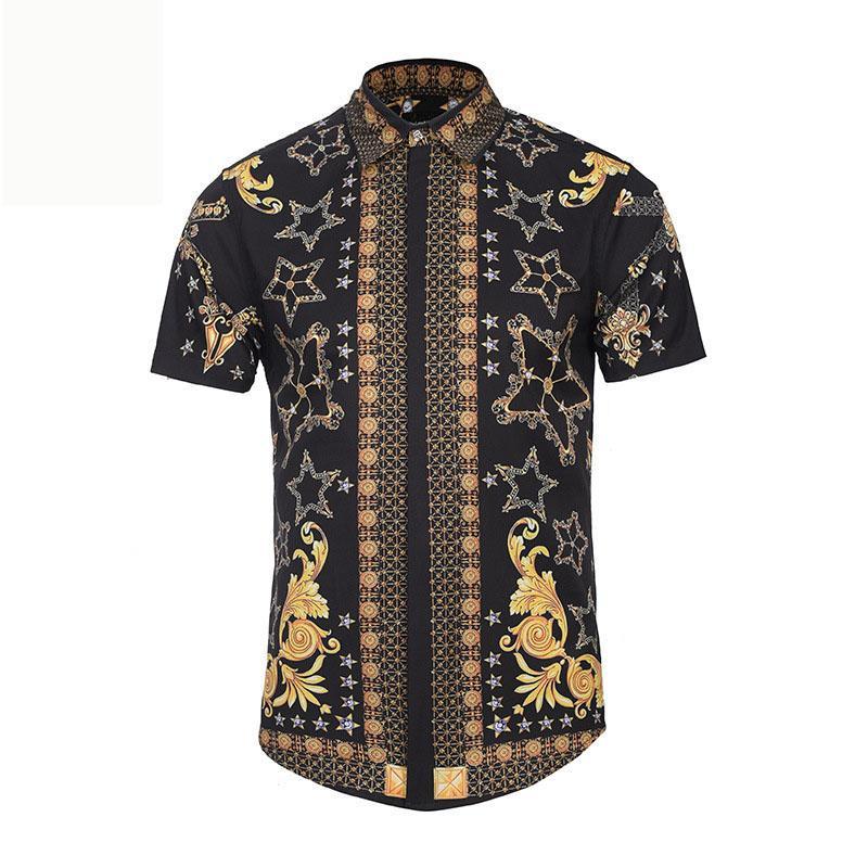 2018 summer Brand Men Colthes Slim Fit lapel Shirts flower pattern 3D printing shirt Leisure street youth hip-hop fashion tops Medusa Shirts