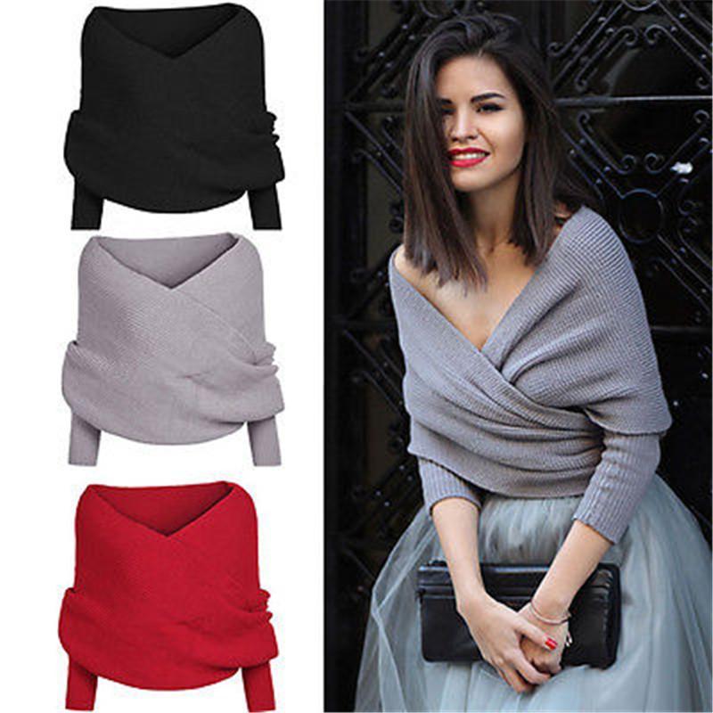 Donne maglione autunno inverno caldo sexy scollo a V involucro involucro maglioni a maglia maglioni fuori spalla manica lunga femmina sciolta oversize