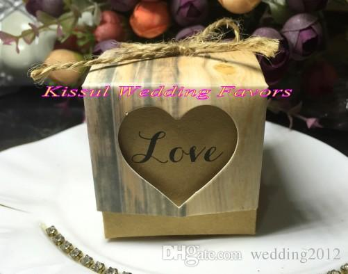 (120Pcs/Lot) Love Heart Rustic Wedding Candy box for Cake box and Wedding favor boxes and romantic wedding gift bags Easy Fold