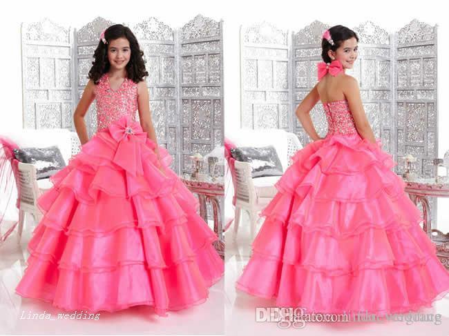Chegada nova Rosa Meninas Pageant Vestido Princesa Halter Decote Com Bow Party Cupcake Prom Vestido Para A Menina Curta Vestido Bonito Para O Miúdo