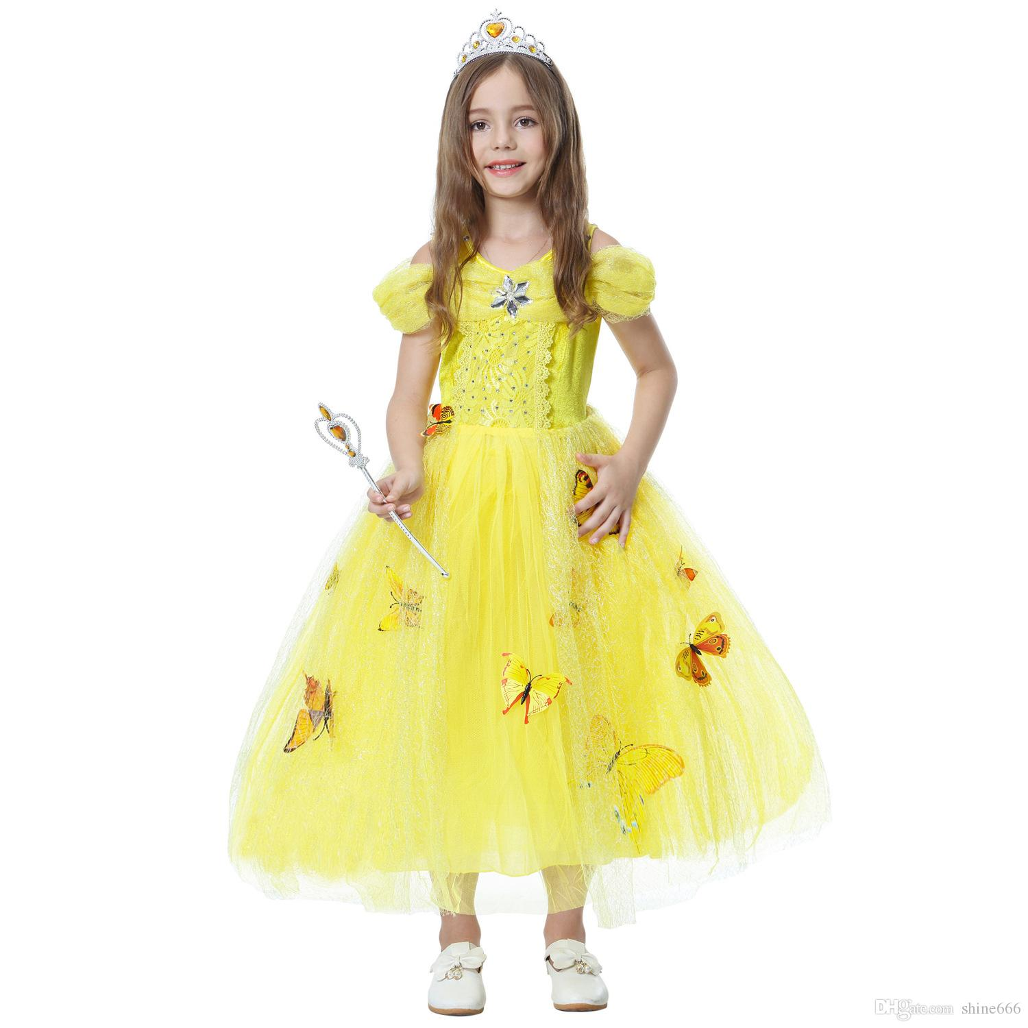 snowflake diamond butterfly dress fancy costumes for kids blue gown Halloween baby girl butterfly dress 5 Layers in stock Girl's Dresses