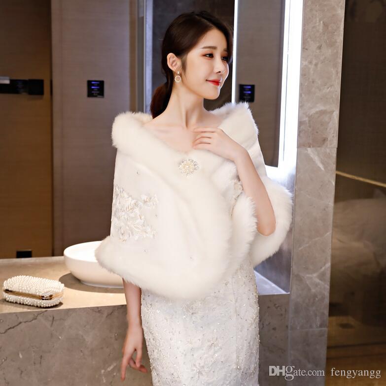 رائعة طويلة فو الفراء الزفاف التفاف الزفاف الديكور زهرة قبالة الكتف شال اكسسوارات الزفاف ل فستان الزفاف