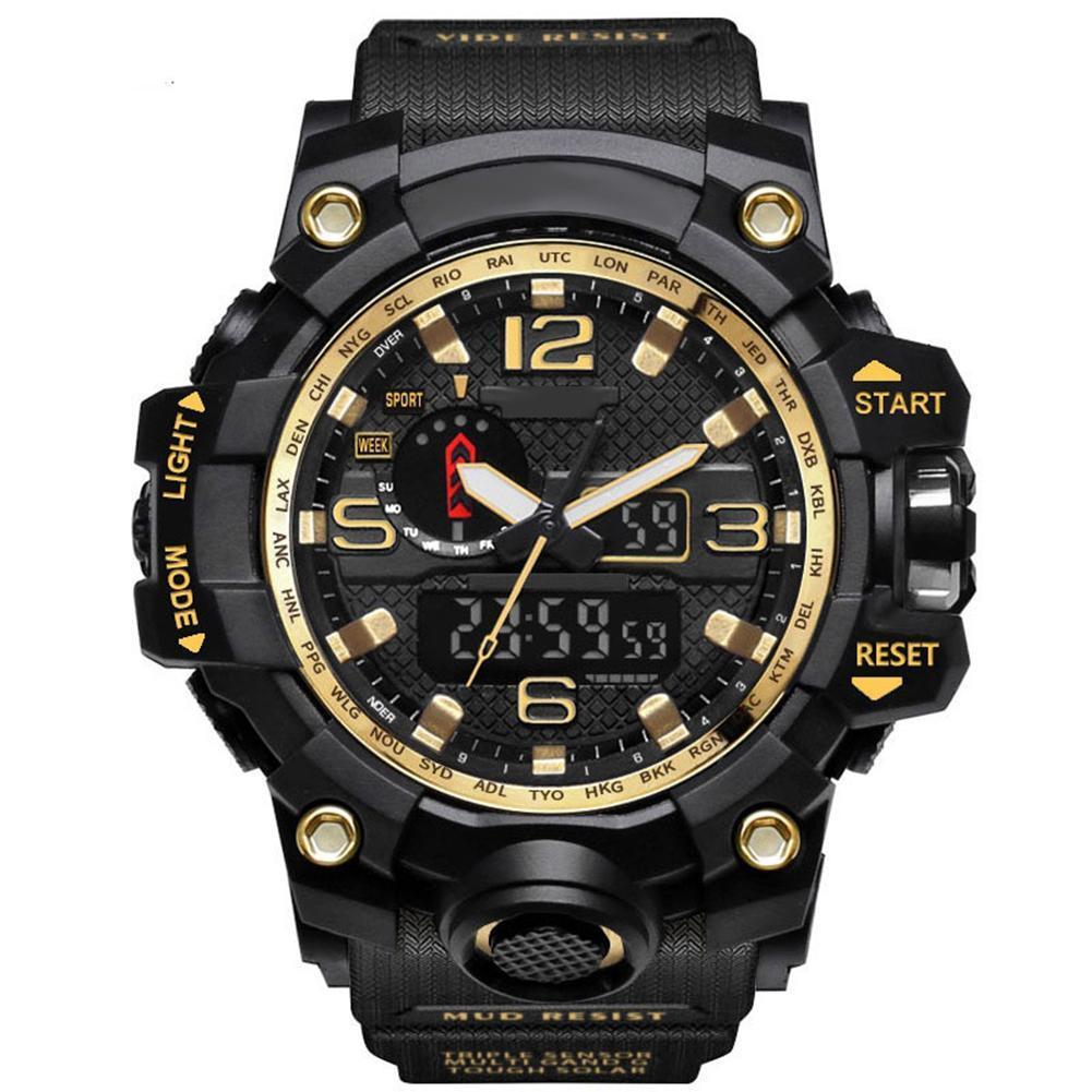Hommes analogique LED numérique montre à quartz double affichage étanche Sport montre-bracelet